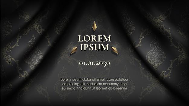 波状の滑らかな黒い絹の布のカーテンの背景に抽象的な黄金の伝統的なタイパターン