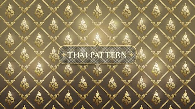 Абстрактное тайское традиционное искусство на золотом фоне