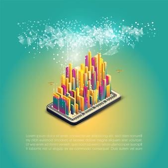 Умный город, связь, сеть, связь. футуристический красочный дизайн.