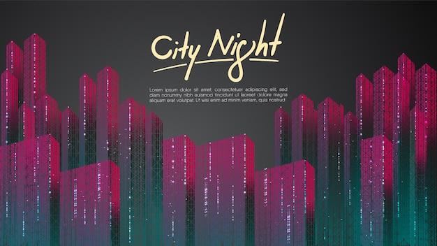 テキストテンプレートと夜間の背景にカラフルな街