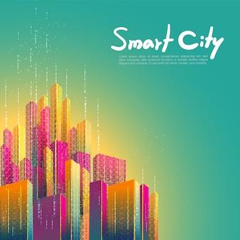 スマートシティ、通信、ネットワーク、接続未来的なカラフルなデザインの背景