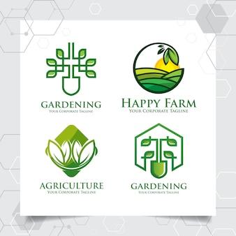 農業のロゴのテンプレートデザインのコレクションを設定します
