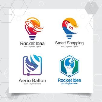 ロケット宇宙船のコレクション電球ロゴテンプレートアイデアデザインコンセプトを設定します。