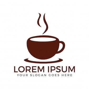 コーヒーロゴのデザインのカップ。コーヒーショップのロゴ。