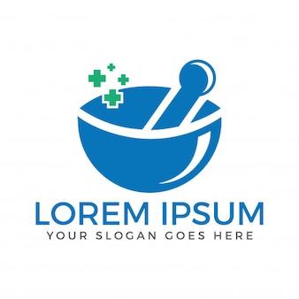 薬局の医療ロゴ。天然モルタルおよび乳棒のロゴタイプ。