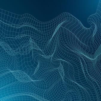 波線で抽象的な技術背景デザイン