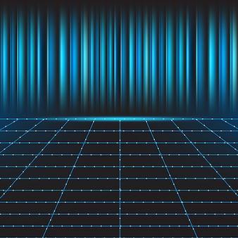 青い技術の背景を持つ抽象的なライングリッド