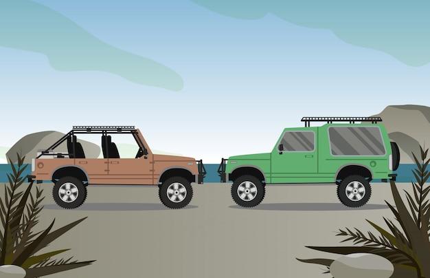 ビーチのシーンと道路上のオフロード車