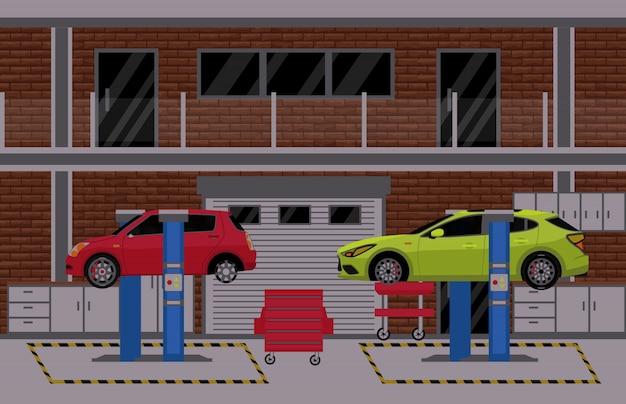 車のサービスと修理店の建物やガレージのシーン