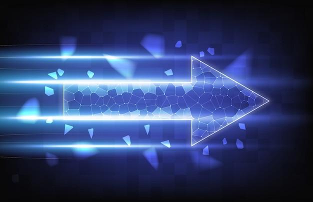 Абстрактный фон скорости линии со стрелкой интернет с частицей