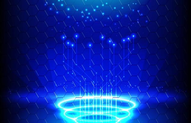 光とディプレイパネルのテレポートの未来的な抽象的な背景
