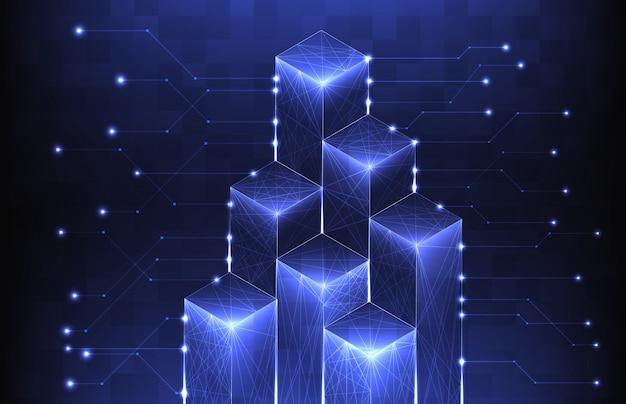 Абстрактный фон футуристический граф блок с линиями связи