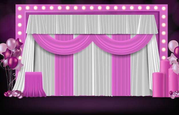 甘いピンクの結婚式の背景、お祝いパーティーコンセプトの抽象的な背景