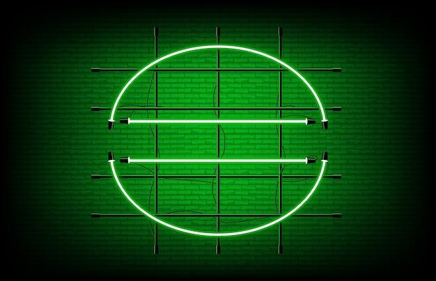 Абстрактный фон зеленый полукруглый круг формы неоновая вывеска