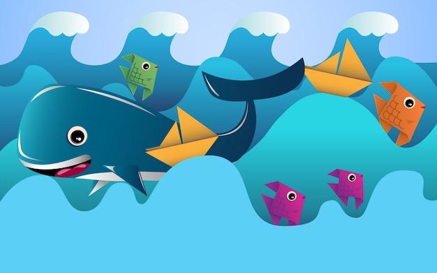 Красивые иллюстрации океана и рыбы. волны, рыбы и лодки с простым дизайном