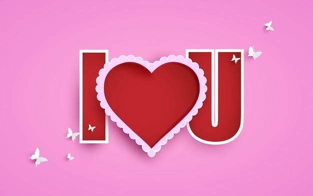 愛とバレンタインの日のイラスト。ピンクの背景紙アートデザイン