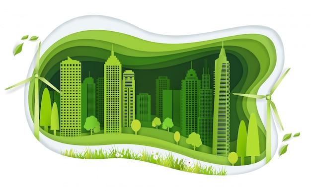 建物とエコロジーのアイデアを持つ緑豊かな街
