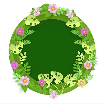 植物や花、春の円の中の紙の芸術
