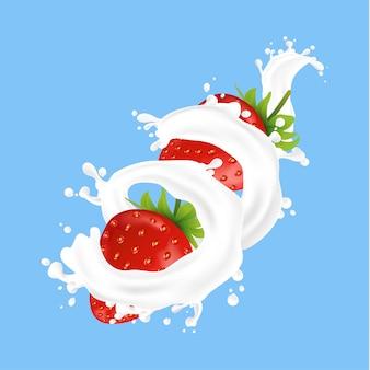 スプラッシュ液と新鮮なイチゴ