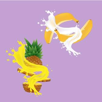 パイナップルジュースとバナナ