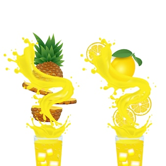 パイナップルジュースとレモンジュース