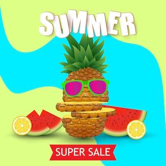 夏の果物のイラスト。ベクトルイラスト