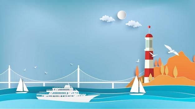紙アートのクルーズと灯台