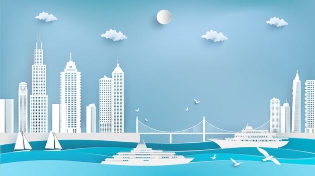 クルーズ船と都市のイラスト。紙アート