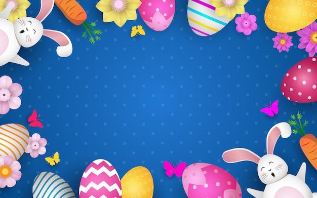 Счастливой пасхи украшение. красивые крашеные яйца и милый зайчик.