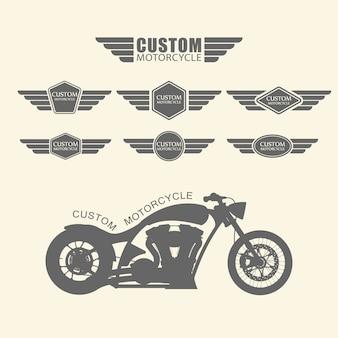 ヴィンテージカスタムオートバイのラベルのセット