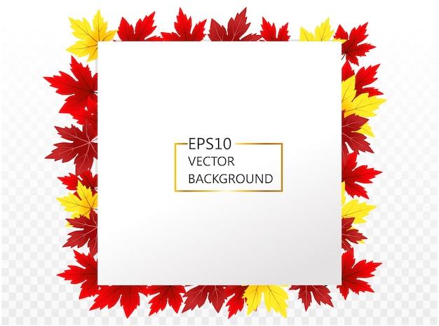 デザインと装飾のための秋のメープルフレームと抽象的な背景