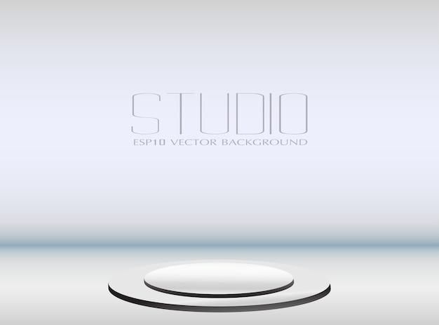 表彰台と空のスタジオの背景