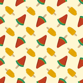 Летние бесшовные фрукты мороженое, шаблон для текстиля или фон