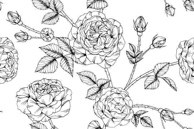 シームレスなバラの花のパターンの背景。