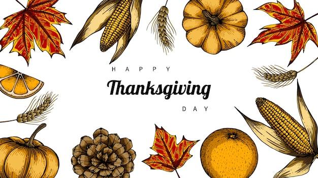 День благодарения фон с цветком и листьев