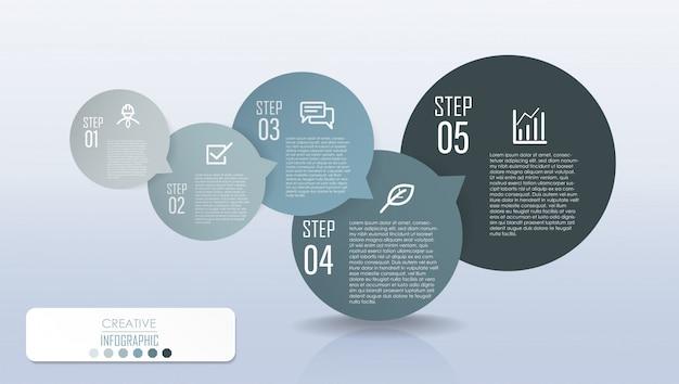 ステッププロセスフローチャートを使ったインフォグラフィックダイアグラムデザイン