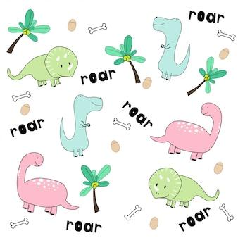 Симпатичные рисованной динозавров