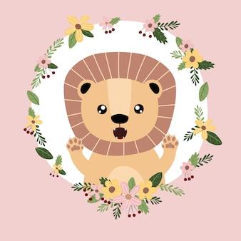 Лев милый животных рисованной каракули