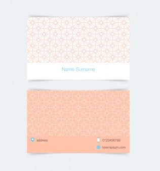 シンプルなパターンの背景を持つ名刺テンプレート
