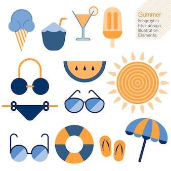 夏のインフォグラフィックフラットなデザイン要素。ベクトル図夏のコンセプト。