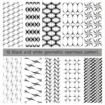 黒と白の幾何学的なシームレスパターンのコレクション