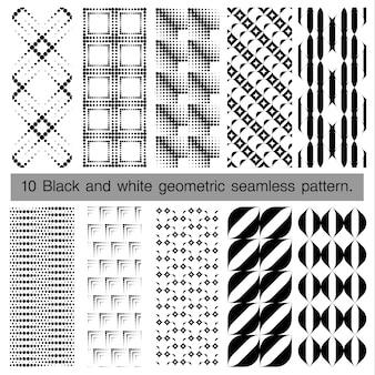 黒と白の幾何学的なシームレスパターンのコレクション。