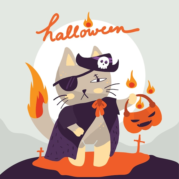 ハロウィーンの日にカボチャを渡している海賊の衣装の猫
