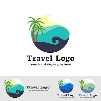 海の波とビーチのロゴ
