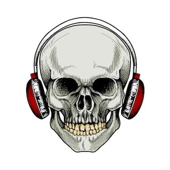 頭蓋骨と赤いヘッドホン