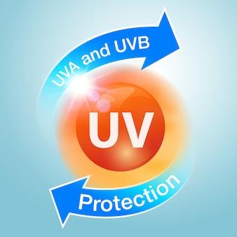 紫外線防御のアイコンは日焼け止めを宣伝するために使用されます。