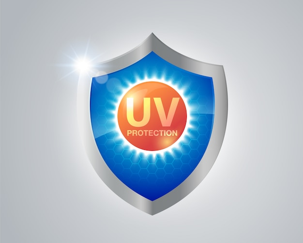 紫外線保護。紫外線からの日焼け止めシールド。