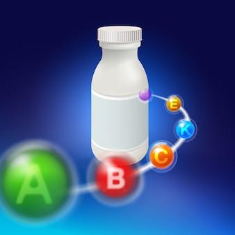 ビタミン錠剤は浅い深さで白いプラスチックボトルにぶつかりました。