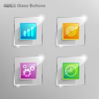 ガラスの正方形のボタン