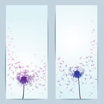 バナーのタンポポの花のベクトルの背景